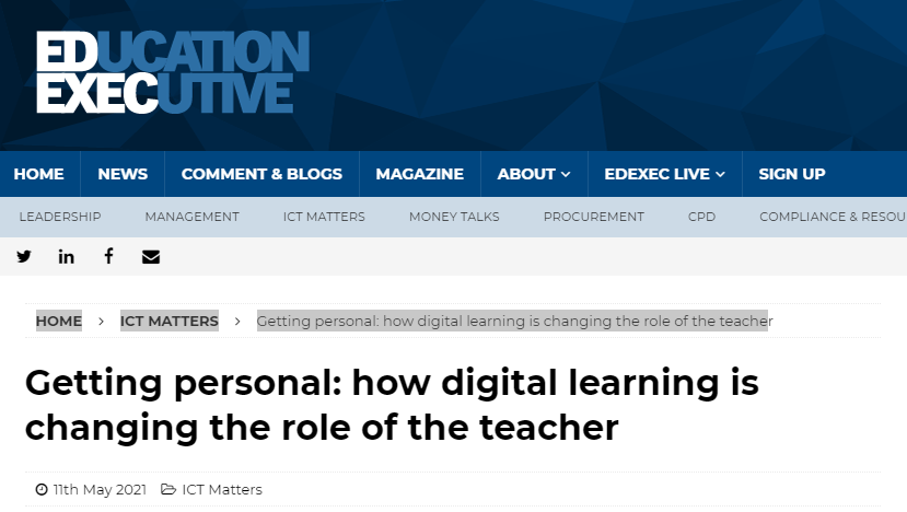 """Featured image for """"Education Executive – Getting personal: how digital learning is changing the role of the teacher"""""""